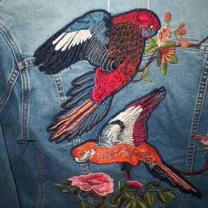 Driftwood Jean Jacket Embroidered Tropical Birds M